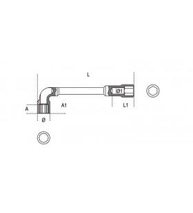 BETA Offset Hexagon Socket Wrench 14mm Polished Chrom 55000
