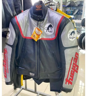 Furygan leather jacket, cafe racer style, vintage motorcycle jacket