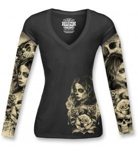 WOMENS LOVE N DEATH TATTOO SLEEVE SHIRT BLACK  30313134