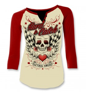 WOMENS HARD TO CATCH 3/4 SLEEVE SHIRT WHITE/RED 30313175