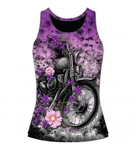 WOMENS FLOWER MOTORCYCLE BURNOUT TANK TOP BLACK 30313341