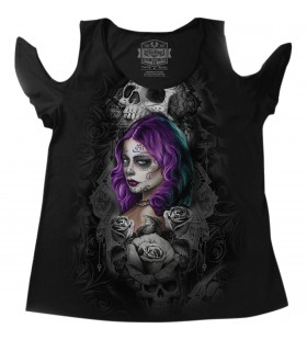 WOMENS QUEEN OF HEARTS CURVY SIZE SHIRT BLACK  30313368
