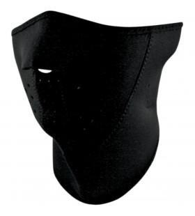 ZAN HEADGEAR  HALF FACE MASK 3-PANEL WITH NECK SHIELD BLACK